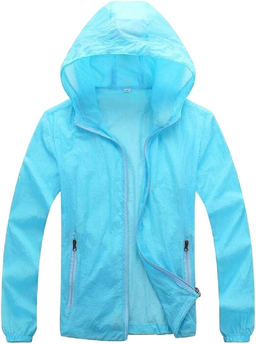 GLORYA Womens Breathable Coat UV Protect Solid Hooded Thin Jacket