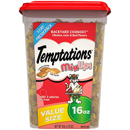 TEMPTATIONS MixUps Treats for Cats BACKYARD COOKOUT Flavor, 16 oz. Tub from Temptations