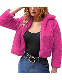 Limsea 2018 Women Pink Lapel Collar Faux Fur Coat Warm Winter Overcoat Outwear
