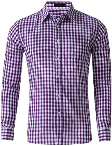 - DOKKIA Men's Cotton Sleeved Buffalo Plaid Checked Business Dress Shirt (Long Sleeve Purple Lavender White, Large)