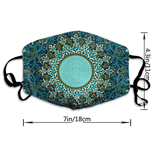 Face Masks, Breathable Dust Filter Masks Medical Mask Mouth Cover Masks with Elastic Ear Loop (Decorative Persian) White