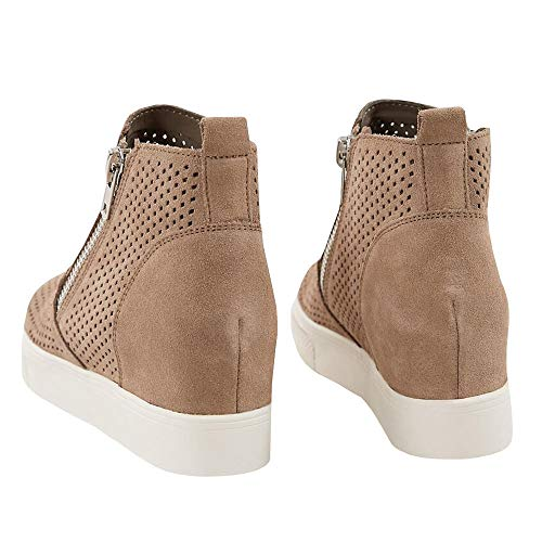 taupe Out Top Platform Wedge Slip Boots High Hollow Heeled 3 Sneaker Ankle Womens Pump Booties On xZwS0ZAv