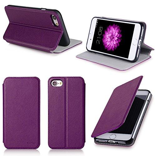 Etui luxe Apple iPhone 7 / iPhone 8 4.7 pouces Ultra Slim violet Cuir Style avec stand - Housse coque de protection iPhone 7 / iPhone8 4,7 - Accessoires pochette XEPTIO : Exceptional case !