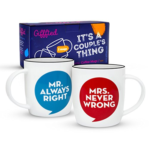 Gifffted Mr Always Right and Mrs Never Wrong Coffee Mugs For Couple, Funny Wedding Anniversary Gift, Couples Engagement Gifts, Men Women Him Her His Hers Bride, Birthday, Valentines Day Gag, Set of 2