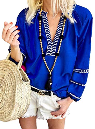 FARYSAYS Women's Fashion Summer Autumn Boho Embroidered V Neck Long Sleeve Tee Shirt Casual Tops and Blouses Blue Medium
