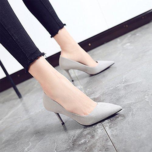 Jqdyl High Heels 2018 Fruuml;hling neue High Heels weibliche Spitze mit professionellen Schuhe wilde Schuhe mit Absauml;tzen  37|Gray 8cm