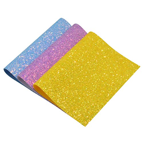 Chunky Glitter Fabric Sheets- 3 Pieces Solid Color 8 x 12 Precut Shiny Thick Canvas Fabric Sheets for Bag Making, Hat Making, Hair Crafts Making, Jewelry Making, Sewing (Mix Color-6)