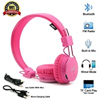 Kids Wireless Headphones, Toddler Boys Girls On-Ear Bluetooth Headphones with FM Radio, Microphone, TF Card Player, 3.5 MM Jack, Children Headset for iPhone, iPad, Laptop, Kindle - Pink