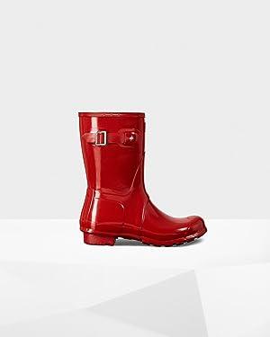 Hunter Womens Original Short Gloss Military Red Rain Boot - 10