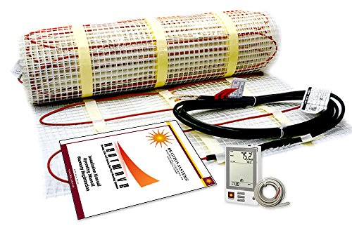 - 50 Sqft Electric Radiant Floor Heating System with Required GFCI Programmable Thermostat 120V