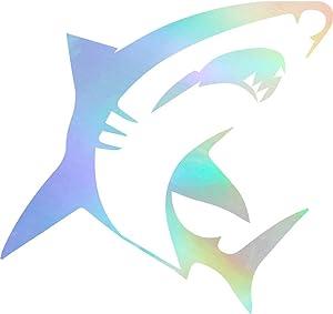 USC DECALS Shark Attack (Hologram) (Set of 2) Premium Waterproof Vinyl Decal Stickers for Laptop Phone Accessory Helmet Car Window Bumper Mug Tuber Cup Door Wall Decoration