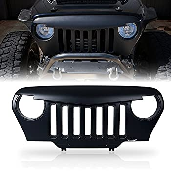 Xprite 1997-2006 Jeep Wrangler TJ LJ Front Matte Black Angry Bird Grille Grid Grill Overlay Cover