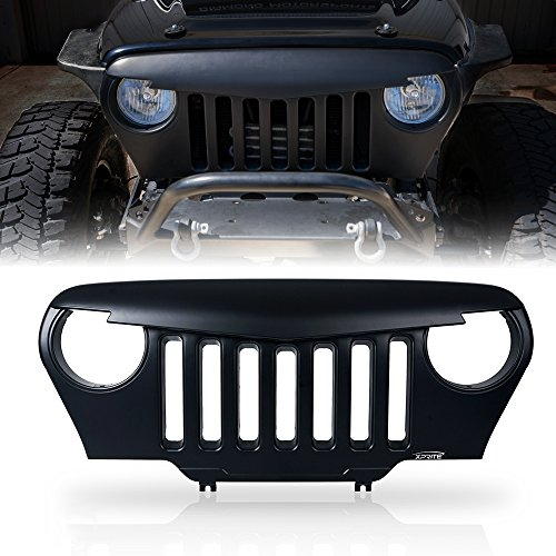 Xprite Front Matte Black Angry Bird Grille Grid Grill Overlay Cover for 1997-2006 Jeep Wrangler TJ LJ - Grill Overlay
