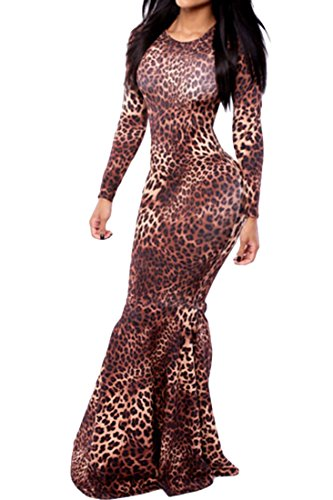 Agatha Garcia Women Leopard Print Long-sleeve Mermaid Maxi Dress