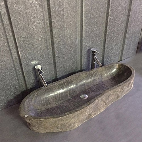 Vasque /à poser en pierre de rivi/ère 90//100 cm Gal/éo XXL