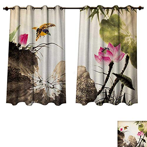 RuppertTextile Art Bedroom Thermal Blackout Curtains Bird Jumping into a Lotus in a Gloomy Setting Circle of Life Chinese Culture Window Curtain Drape Cream Taupe Hot Pink W63 x L63 inch