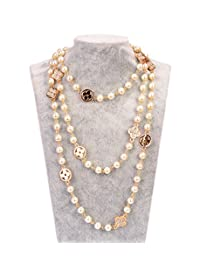 Fashion Jewelry MISASHA Bridal and Chic Long Imitation Pearl 4Leaf Clover Strand Necklace (Gold Clover)