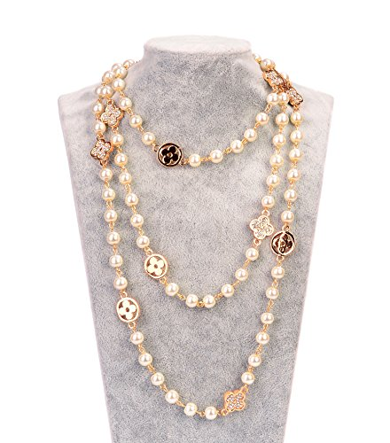 - Fashion Jewelry MISASHA Bridal Chic Long Imitation Pearl Clover Strand Necklace for Women