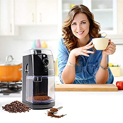 Secura Electric Burr Coffee Grinder Mill with 17 Grind Settings and 2 to 12 Cups Setting for Drip, Percolator, French Press and Turkish Coffee Makers(Black Onyx)