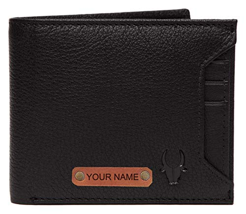 WILDHORN® RFID Protected Customizable Wallet for Gifting   Engrave with Your Name,Company Name or Initials (Black N)