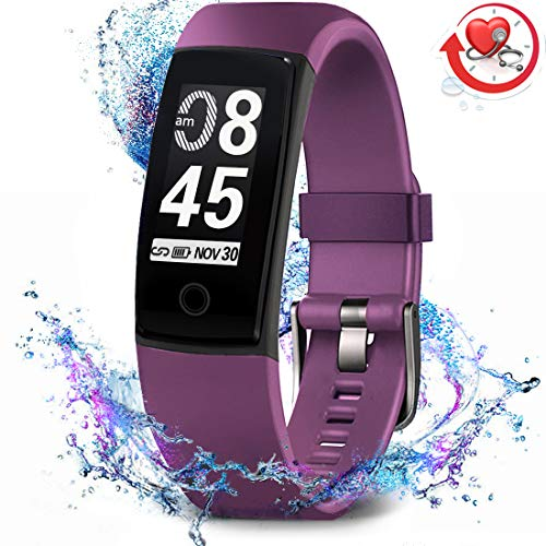 MorePro Fitness Tracker Waterproof Activity Tracker with Heart Rate Blood Pressure Monitor, Color Screen Smart Bracelet with Sleep Tracking Calorie Counter, Pedometer Watch for Kids Women Men,Purple