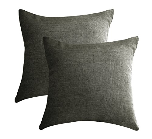 """Aiking Home 2 Pieces of 24""""x24"""" Solid Faux Linen Pillow C..."""