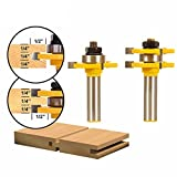 """Bestgle 2pcs 1/2-Inch Shank Matched Tongue and Groove Router Bit 3/4"""" Stock 3 Teeth T-Shape Panel Cabinet Door Flooring Wood Milling Tenon Cutter Woodworking Tools"""