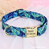 Hanasi Dog Collars Fashion Pet ID Tag Dog Collar Rose Floral Printed Personalized Customized Nameplate Gold Buckle for Yorkshire Pug