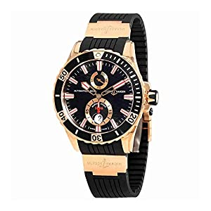 Ulysse Nardin Maxi Marine Diver Black Dial With Wave Design Automatic 18kt Rose Gold Mens Watch 266-10-3/92