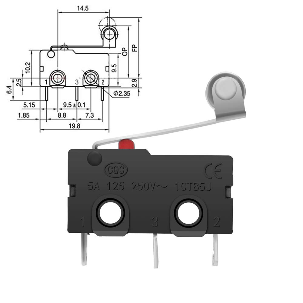 12PAack 125V//250V 16A SPDT Snap Action Long Hinge Roller Arm Switch for Arduino for Microwave Oven Door Arcade KW3 by MXRS