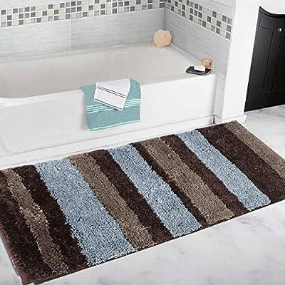 Thick Striped Bath Rugs For Bathroom Set Of 2 Non Slip Mats Runner Soft Microfib