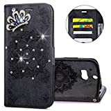 IKASEFU HTC M8 Case,3D Clear Crown Rhinestone Diamond Bling Glitter Wallet with Card Holder Emboss Mandala Floral Pu Leather Magnetic Flip Case Protective Cover for HTC M8,Black