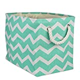 DII Collapsible Polyester Storage Basket or Bin with Durable Cotton Handles, Home Organizer Solution for Office, Bedroom, Closet, Toys, & Laundry (Medium - 16x10x12''), Aqua Chevron
