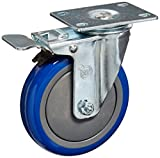 Service Caster SCC-TTL20S514-PPUB-BLUE-4 Swivel Caster Total Lock Brake, Blue Polyurethane Tread, 5'' Size, Top Plate (Pack of 4)