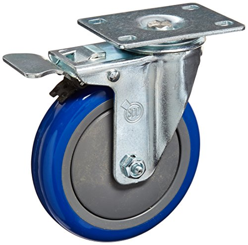 Service-Caster-SCC-TTL20S514-PPUB-BLUE-4-Swivel-Caster-Total-Lock-Brake-Blue-Polyurethane-Tread-5-Size-Top-Plate-Pack-of-4