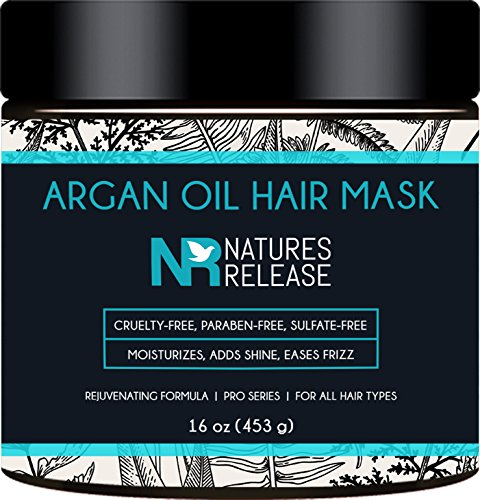 Moroccan Argan Oil Hair Mask - 16 Oz - Keratin Infusted Natural and Sulfate Free Formula - Gentle on Curly & Color Treated Hair - for Men & ()