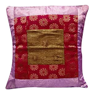 Patchwork Purple Pillow Case Designer Woven Handmade Home Decor Cushion Cover India 24'' Inches