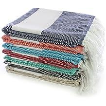 Turkuoise Peshtemal - Set of 4 - Genuine Flat Woven Turkish Towel - Pareo - Sarong - Picnic Blanket - Yoga Mat - Fouta (100% Cotton) (Herringbone-Set of 4) (Random Colors)