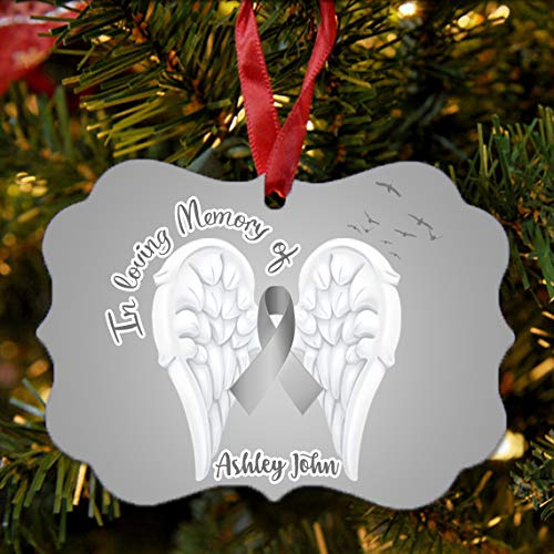 Cancer Ornament Tree Christmas - BRGiftShop Personalized Custom Name Brain Cancer Wings Ribbon In Loving Memory Christmas Tree Ornament