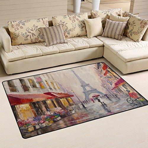 WellLee Area Rug,Oil Painting Eiffel Tower Paris Shop Street Floor Rug Non-Slip Doormat for Living Dining Dorm Room Bedroom Decor 31x20 Inch