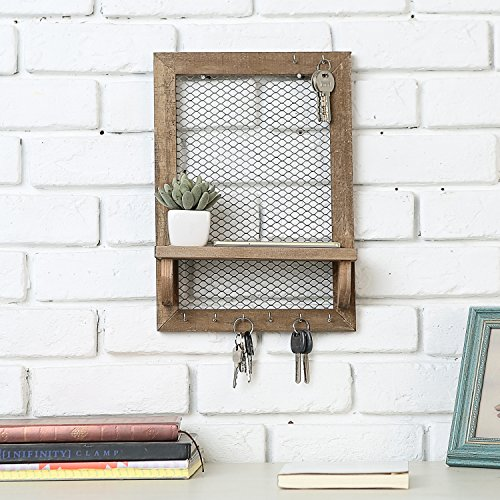 8 Hook Wood and Metal Chicken Wire Wall Mounted Jewelry Display Organizer Rack with Shelf by MyGift (Image #2)