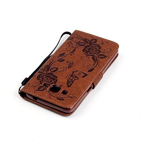 Wkae De lujo la mariposa Rhinestone repujado estuche de cuero de la PU cubierta de la caja de estilo cartera con dinero y tarjetas de ranuras funcion soporte para Samsung A310, G530, J5 y S5 DIEBELLEU Brown