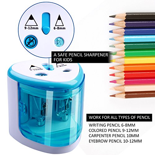 Electric Pencil Sharpener,Heavy duty Blades Durable and Portable Pencil Sharpener with Automatic Sharpens All Pencils for School Kids Children ,Blue Pencil Sharpener Electric Photo #5