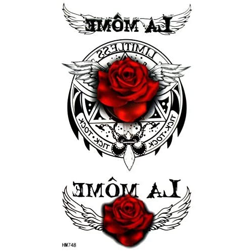 Red Roses With Angel Wings And English Words Fake Temp Tattoos 30
