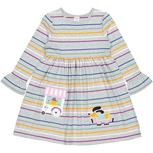 Polarn O. Pyret Limited Edition Stripe ECO Day Dress (1-6YRS) - 1.5-2 Years/Grey Melange