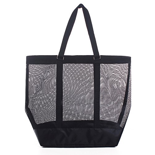 YS·AU Extra-large Mesh Beach Bag Tote, Modern Beach Bag,Black