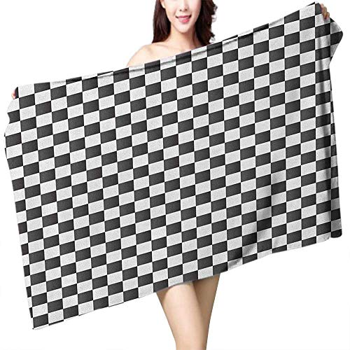 homecoco Soft Bath Towel Checkered Monochrome Composition with Classical Chessboard Inspired Abstract Tile Print W31 xL63 Suitable for bathrooms, Beaches, Parties ()