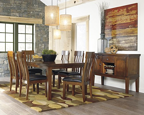 Ralerrine Medium Brown Formal Dining Set, Butterfly leaf Table and 6 Upholstered Side Chair