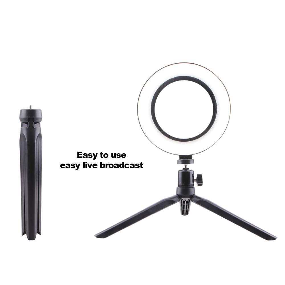 Photography LED Selfie Light 260MM Dimmable Camera Phone Lamp with Table Tripods