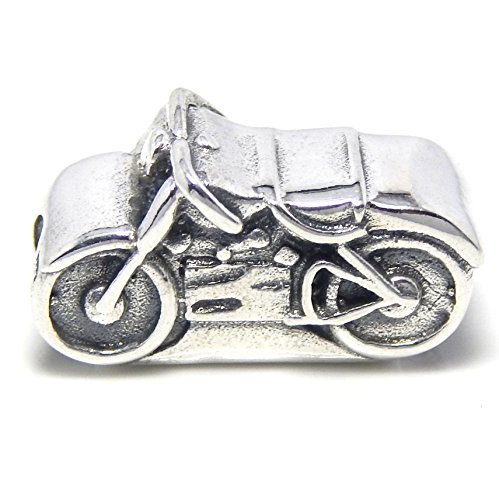 Pro Jewelry 925 Solid Sterling Silver Two-sided Motorcycle Charm Bead